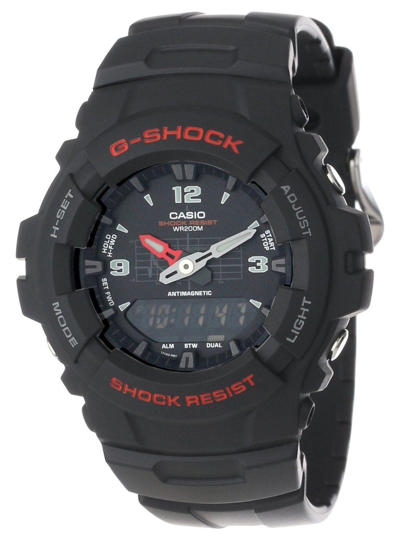 33bd5d4d1757 G-Shock G-100-1BVMUR - Reloj analógico - digital de caballero de cuarzo con  correa negra - sumergible a 200 metros