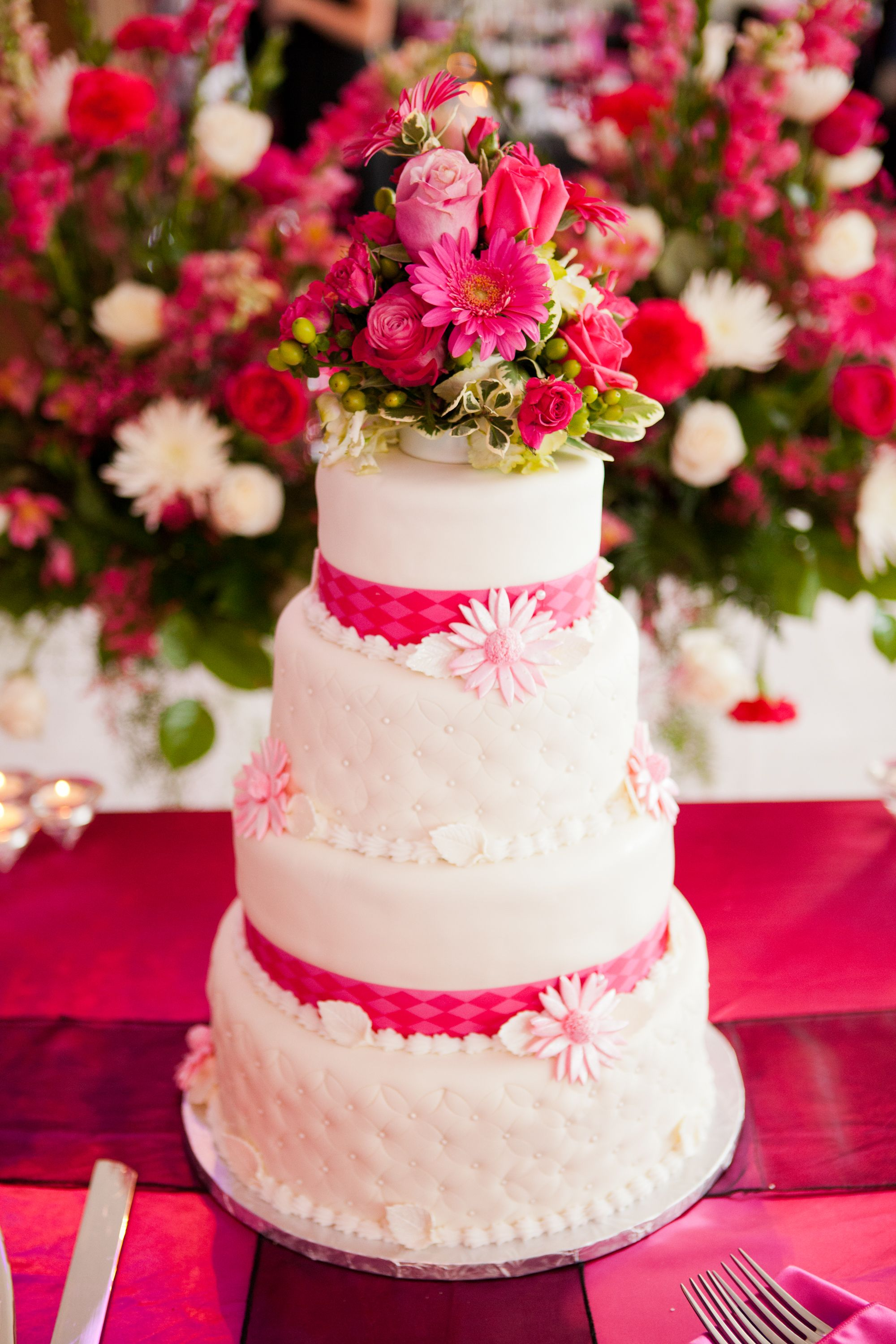 White Wedding Cake With Pink Flowers And Ribbon Classic Colorful