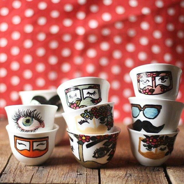 فنجيال القهوة العربية Painting Glassware Art Paint Party Ramadan Crafts