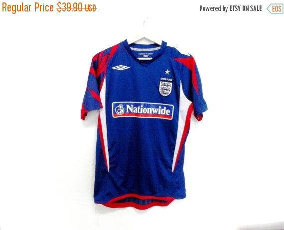 9904c127f86 30% Clearance Sale Vintage Umbro Jersey t shirt England Nationwide football soccer  world cup Medium Size