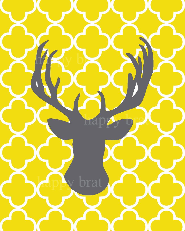 Deer Silhouette with Quatrefoil - Modern Art Prints 8 x 10 Deer ...