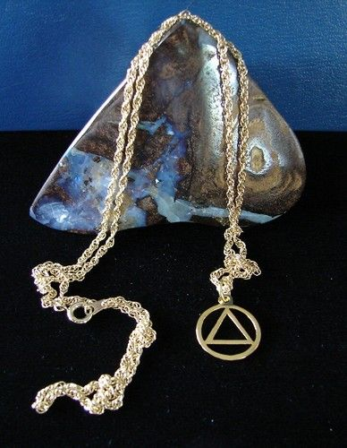 Gold Plated Alcoholics Anonymous 5 8 Aa Symbol Pendant And Necklace