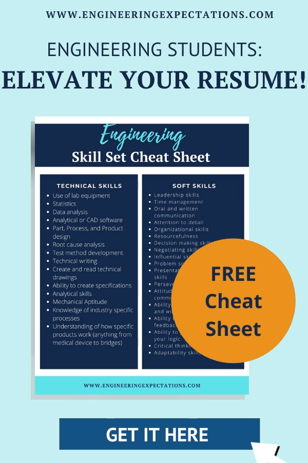 Elevate Your Engineering Resume With Skills Employers Are Looking For Free Cheat Sheet Video Engineering Resume List Of Skills Engineering Student