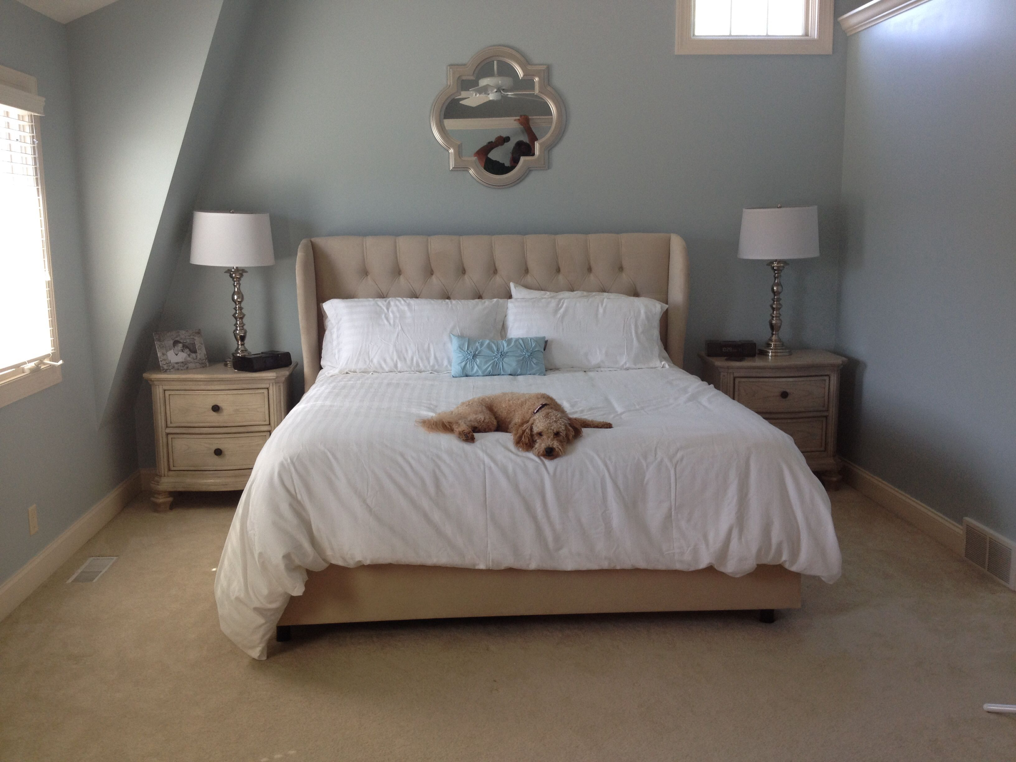 Our master bedroom. Sleepy Blue Sherwin Williams, light blue paint