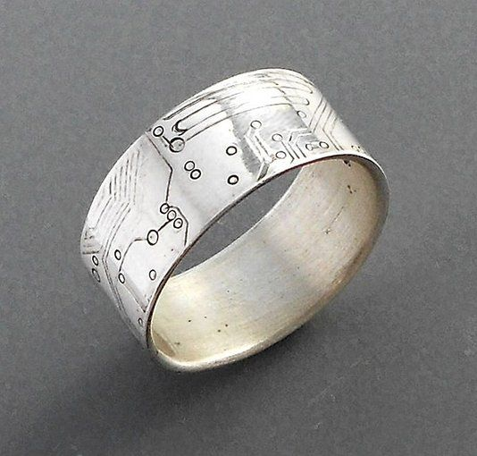 Amazing Custom Made Circuit Board Wedding Rings