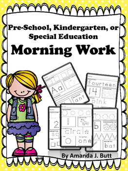 Morning Work Preschool Kindergarten Special Education Autism