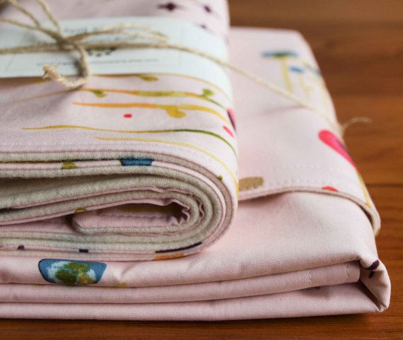 Pink Floral Baby Blanket and Burp Cloth by organicquiltcompany