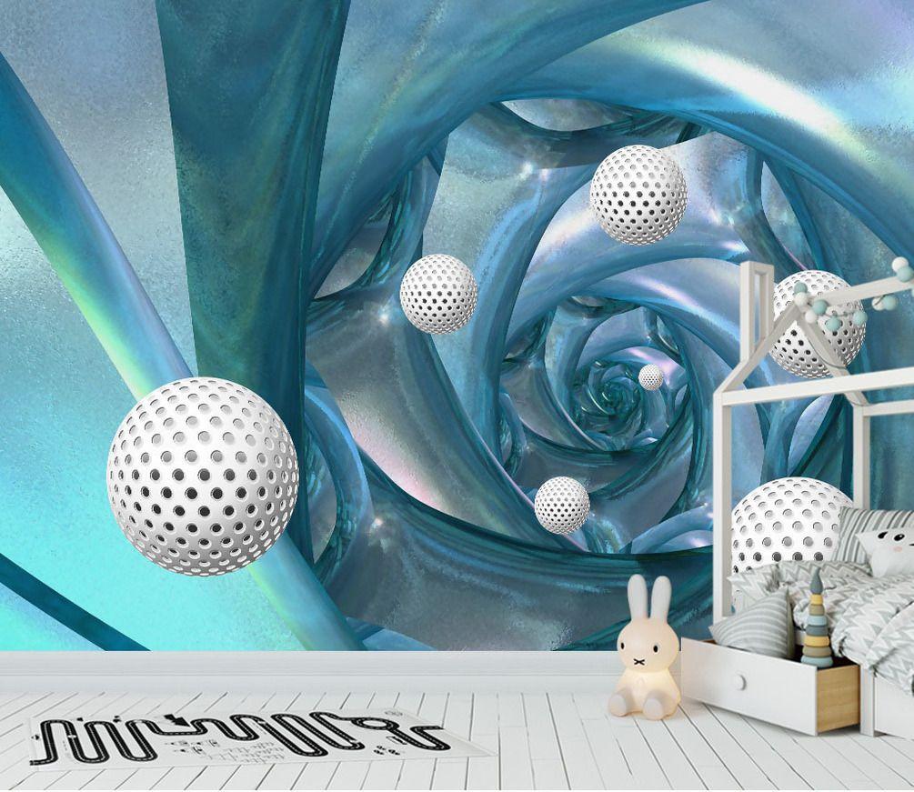 Fototapete Türkis Blumen weiss 3D Kreise