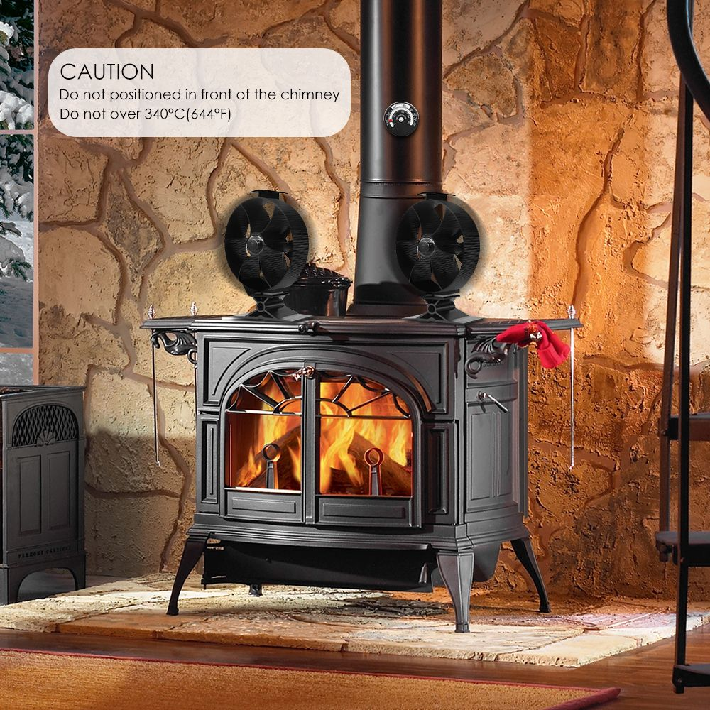 Fireplace Fans 4 Blade Heat Powered Stove Fan For Wood Log