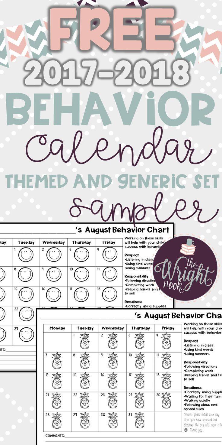 behavior chart calendar freebie sampler classroom management