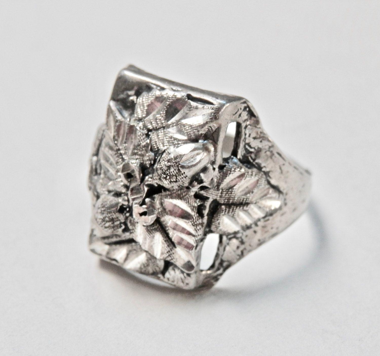 Antique Silver Signet Ring Sterling Silver Black Hills Gold Vintage ...