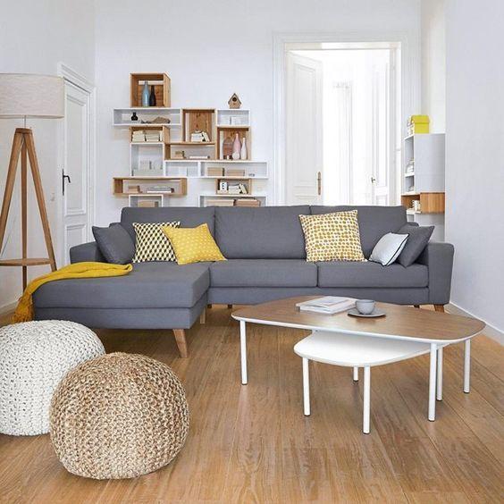 Canapé d u2019angle Atlane, fixe coton 2 coussins additionnels et des pieds en bouleau bois massif  # Canapé D Angle Bois Et Chiffon