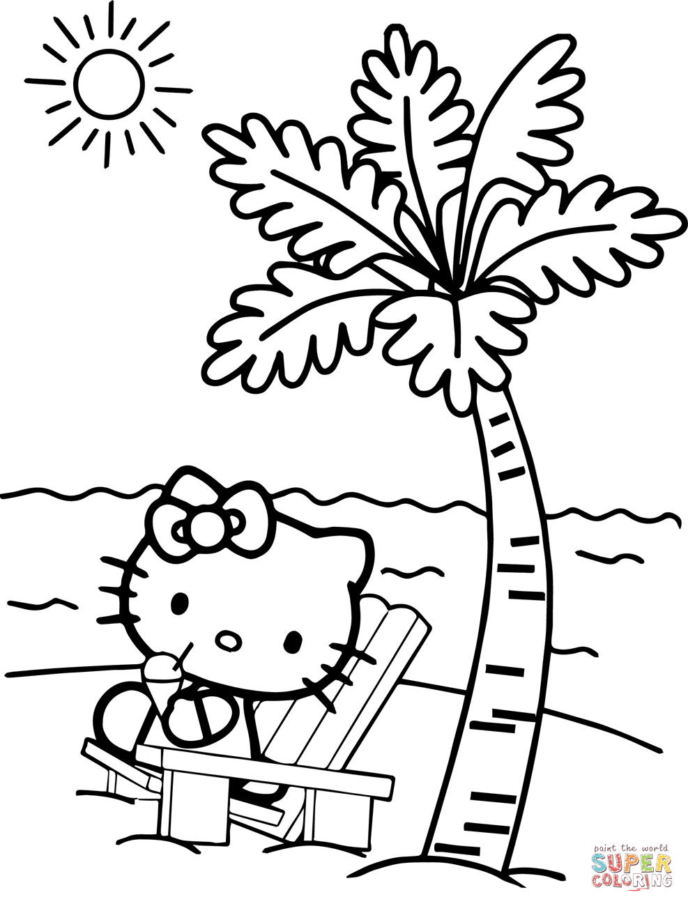 Hello Kitty At The Beach Coloring Page Free Printable Coloring Pages Hello Kitty Colouring Pages Hello Kitty Coloring Free Kids Coloring Pages