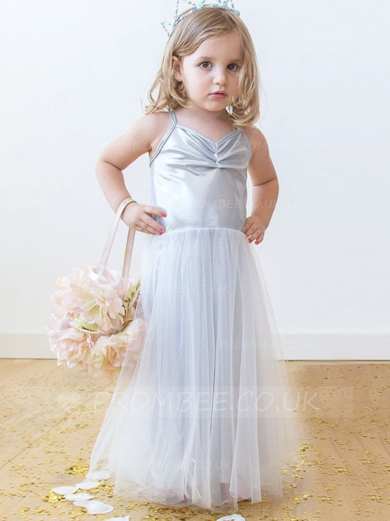 3e2deaf4c2 Spaghetti Strap Floor-Length Tulle Flower Girl Dress With Ruching  wedding   weddingphotography