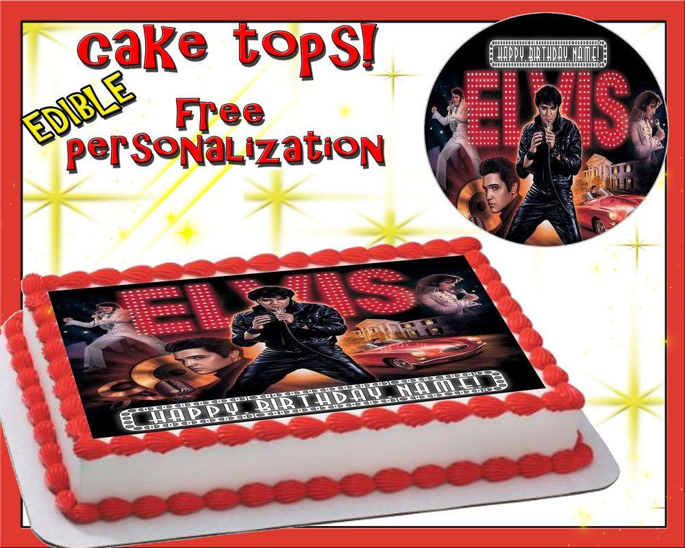 Elvis Presley Happy Birthday Cake Edible Sugar Topper Sheet Paper