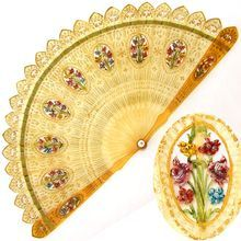 Antique 19thc Brise Fan Pierced Horn Hand Painted Flowers, Eventail