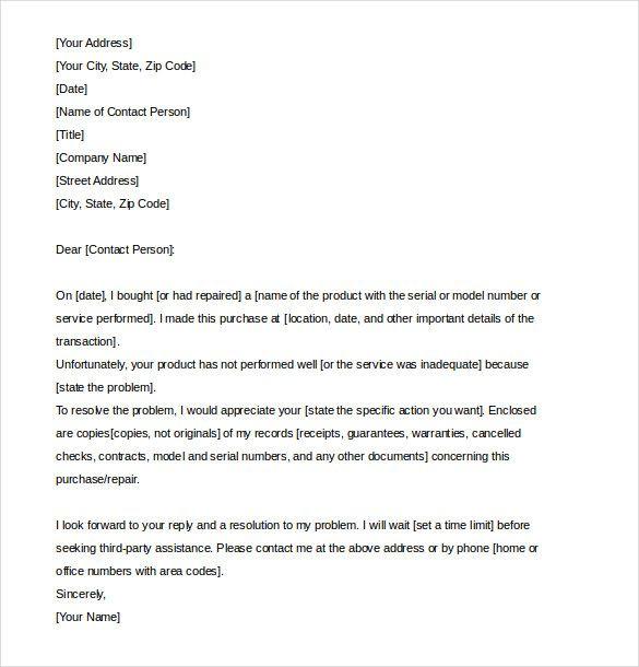 Complaints Letter Sample Very Easy Come Formal Complaint