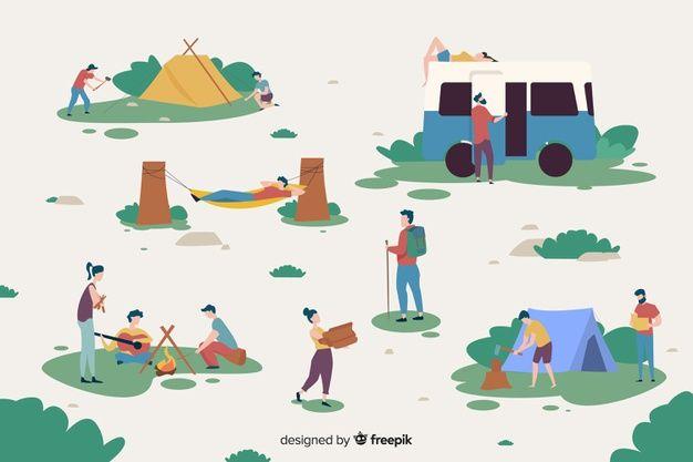 キャンプ場で働く人々 無料ベクター | Free Vector #Freepik #freevector #people