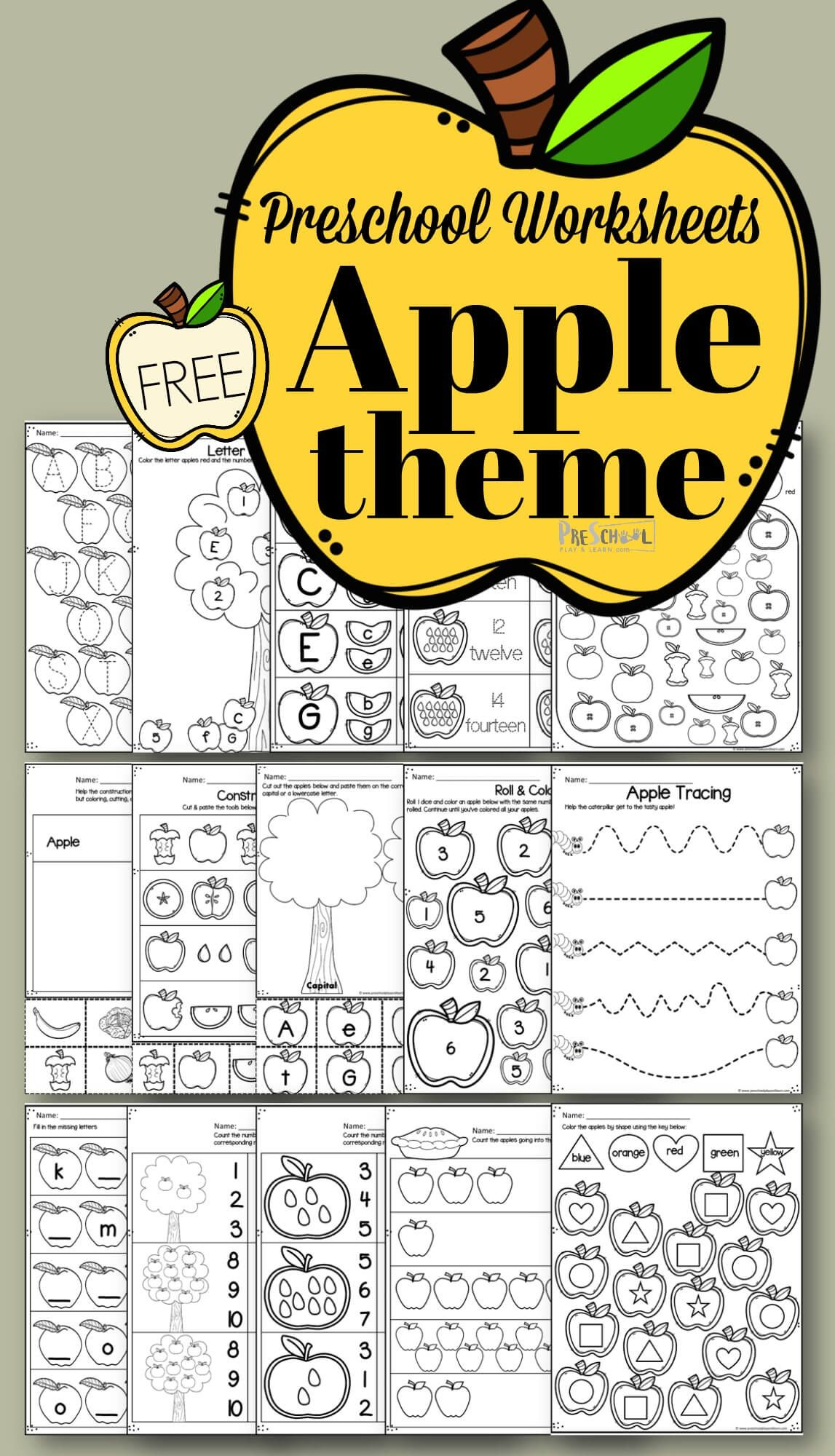 Apple Worksheets For Preschoolers