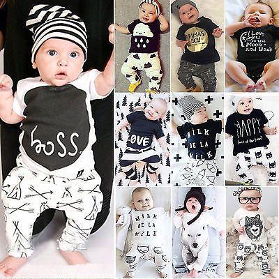 99db2263c7d338 Baby Kinder Jungen Mädchen Tops T-shirt + Hose Set Outfits Kleidung 2pcs Set  Neu