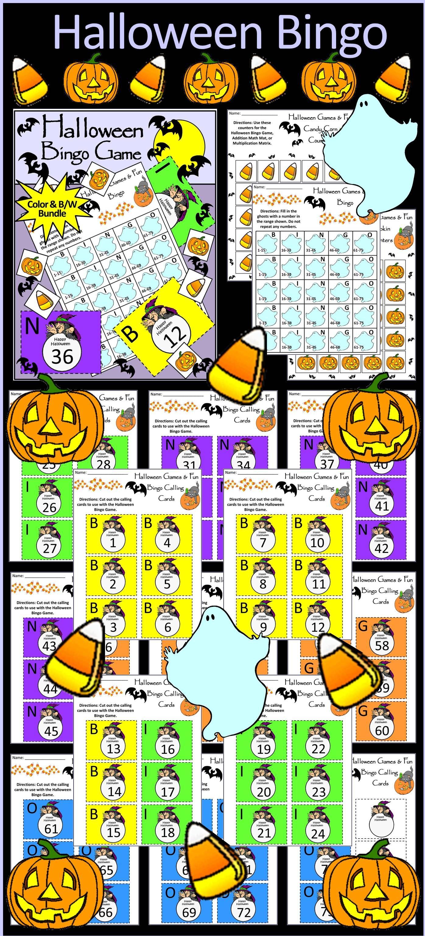 Halloween Activities Halloween Bingo Game Activity Packet Bundle