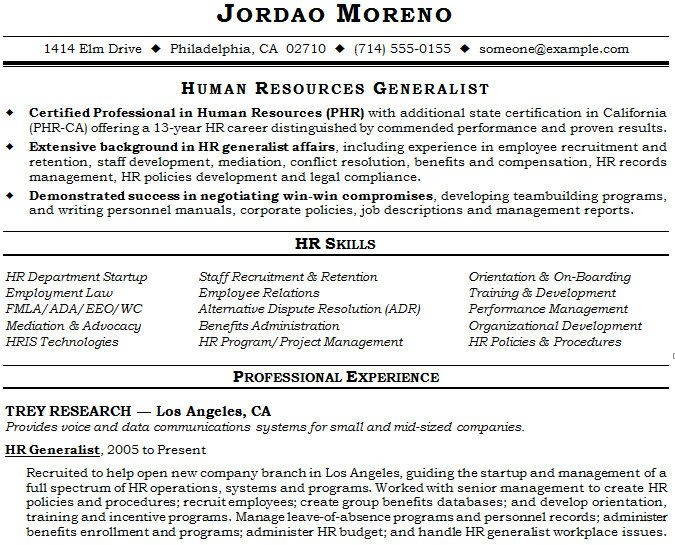 Human Resource Generalist Resume Example Resume Templates - hr resume examples