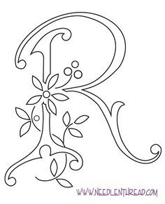 Monogram for Hand Embroidery: Letter R | Hand embroidery letters ...
