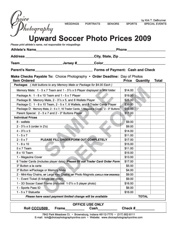 Youth Sports Photography Order Form  Sports Pictures  Sports