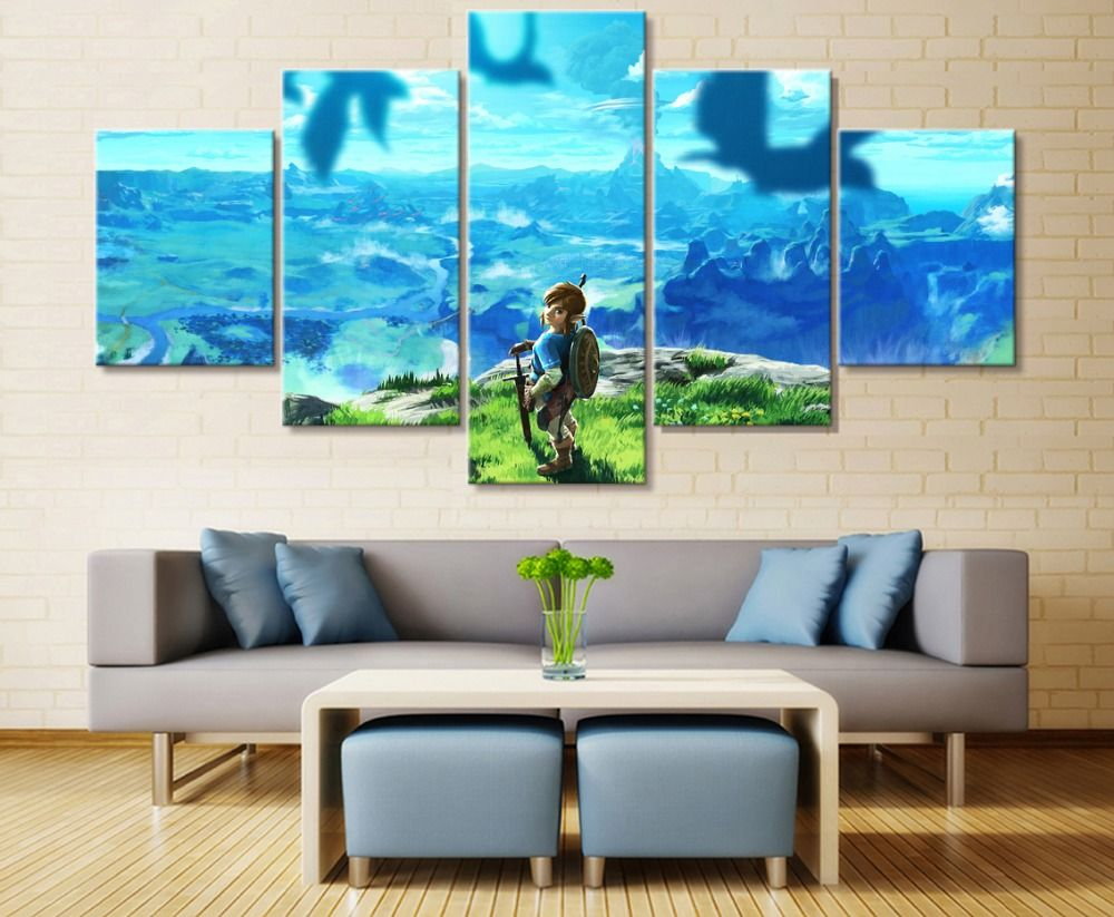 Free Shipping New 5 Panel Legend Of Zelda Cuadros Decoracion Paintings On Canvas Wall Art For Home Decorations Wall Decor Renovat Home Art Canvas Painting Home