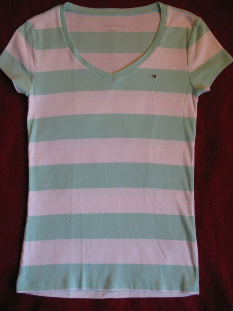 52fcb0132bc59 Tommy Hilfiger Short sleeve Striped White light green T-Shirt For Women Size  SP  fashion  clothing  shoes  accessories  womensclothing  tops (ebay link)