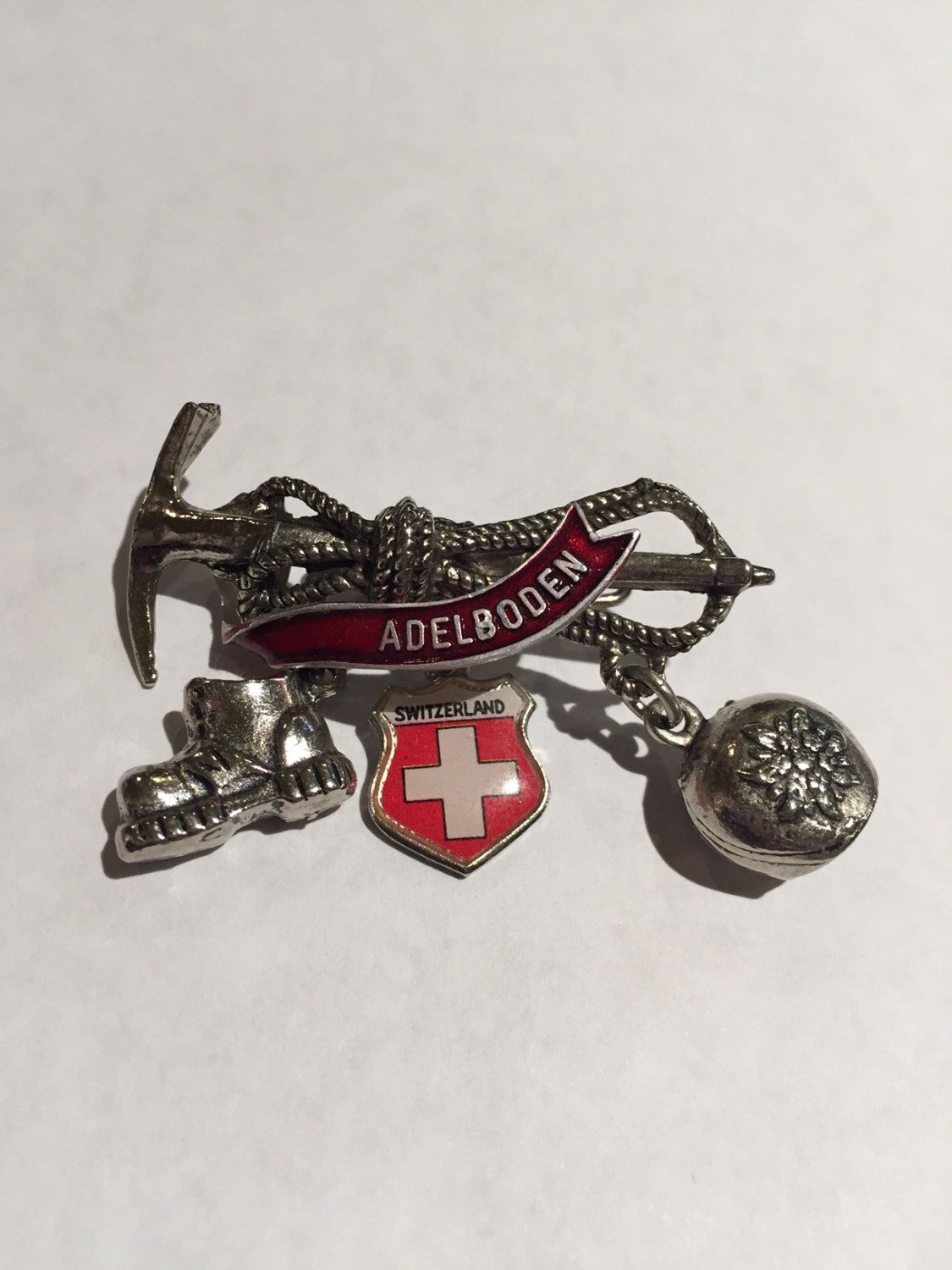 Souvenir Pin Switzerland Charm Dangle Charms Flag Bell Shoe On Ice Pick Lapel Pin Adelboden by missenpieces on Etsy