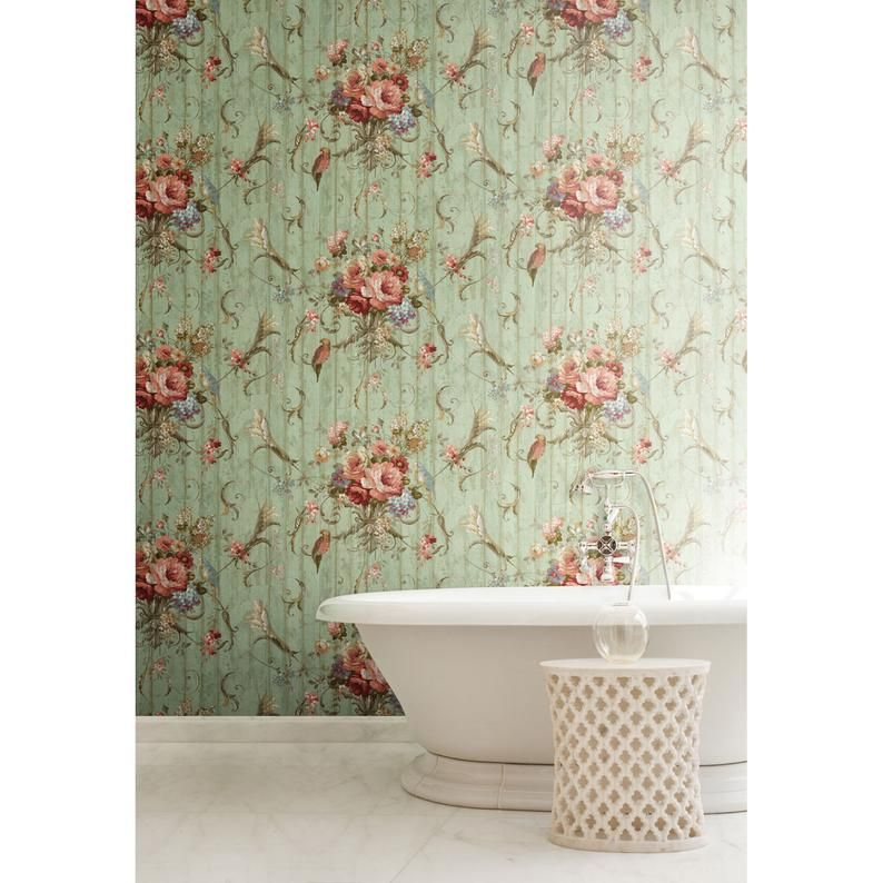 Bird Rose French Cottage Floral Victorian Vintage Wallpaper Etsy Vintage Wallpaper Fireplace Accent Walls Home Decor Near Me