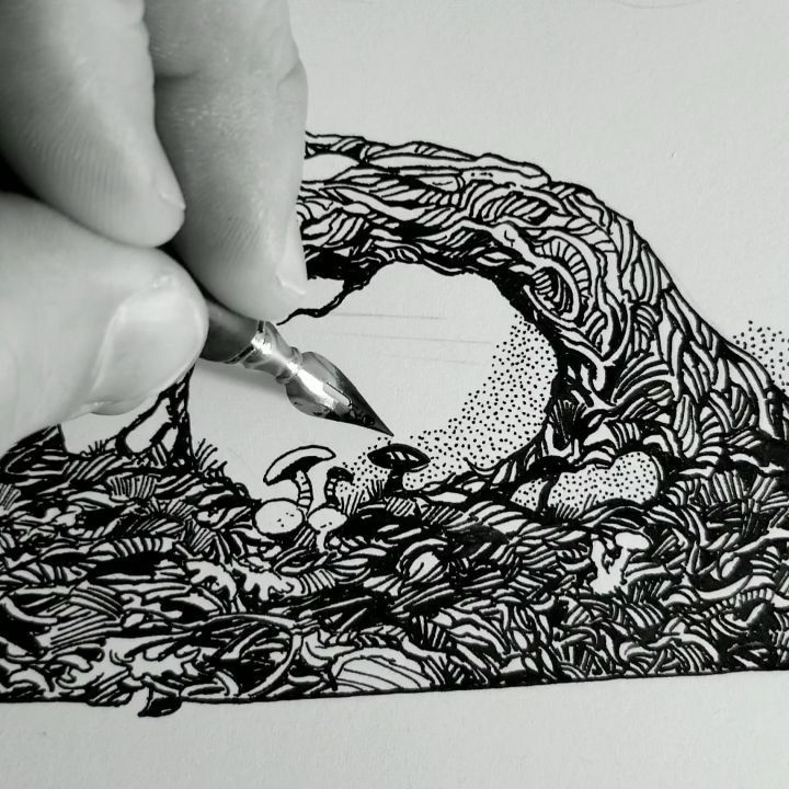 I've had several requests to see my stippling process in realtime, so here it is... Hope you all have a great weekend! ... More up to date images of this work on my Patreon. ... ... #inking #inkingvideo #penandinkart #inkart #ink #stippling #dotwork #blackwork #drawing #inkdrawing #draw #dessin #dibujo