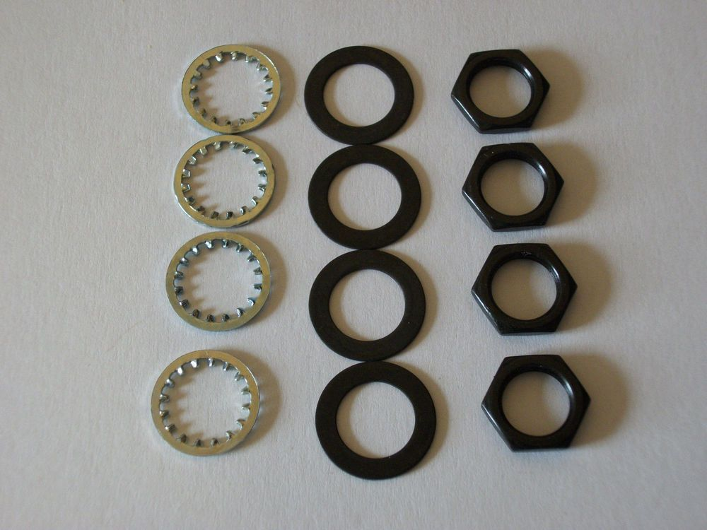 4 Sets Us Thread 3 8 X 32 Black Finish Potentiometer Nuts Trim Lock Washers It Is Finished Black Finish Lock