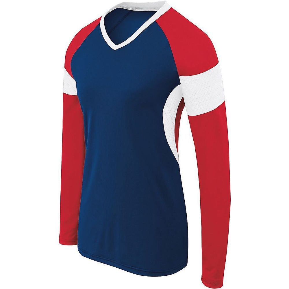 Augusta 342143 Girls Long Sleeve Raptor Jersey Navy Scarlet White M Long Sleeve Jersey Girls Long Sleeve Long Sleeve
