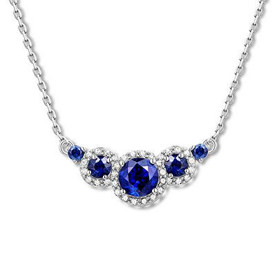 d82c41480 Natural Sapphire Necklace 1/8 ct tw Diamonds 10K White Gold in 2019 ...