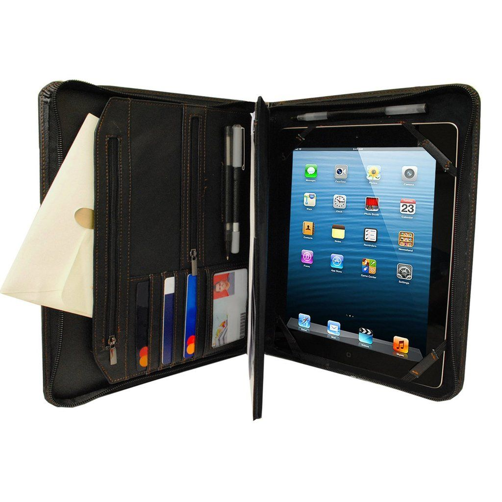 Black Executive PadFolio Case with Notepad Holder and Pockets for Apple iPad Pro 12.9