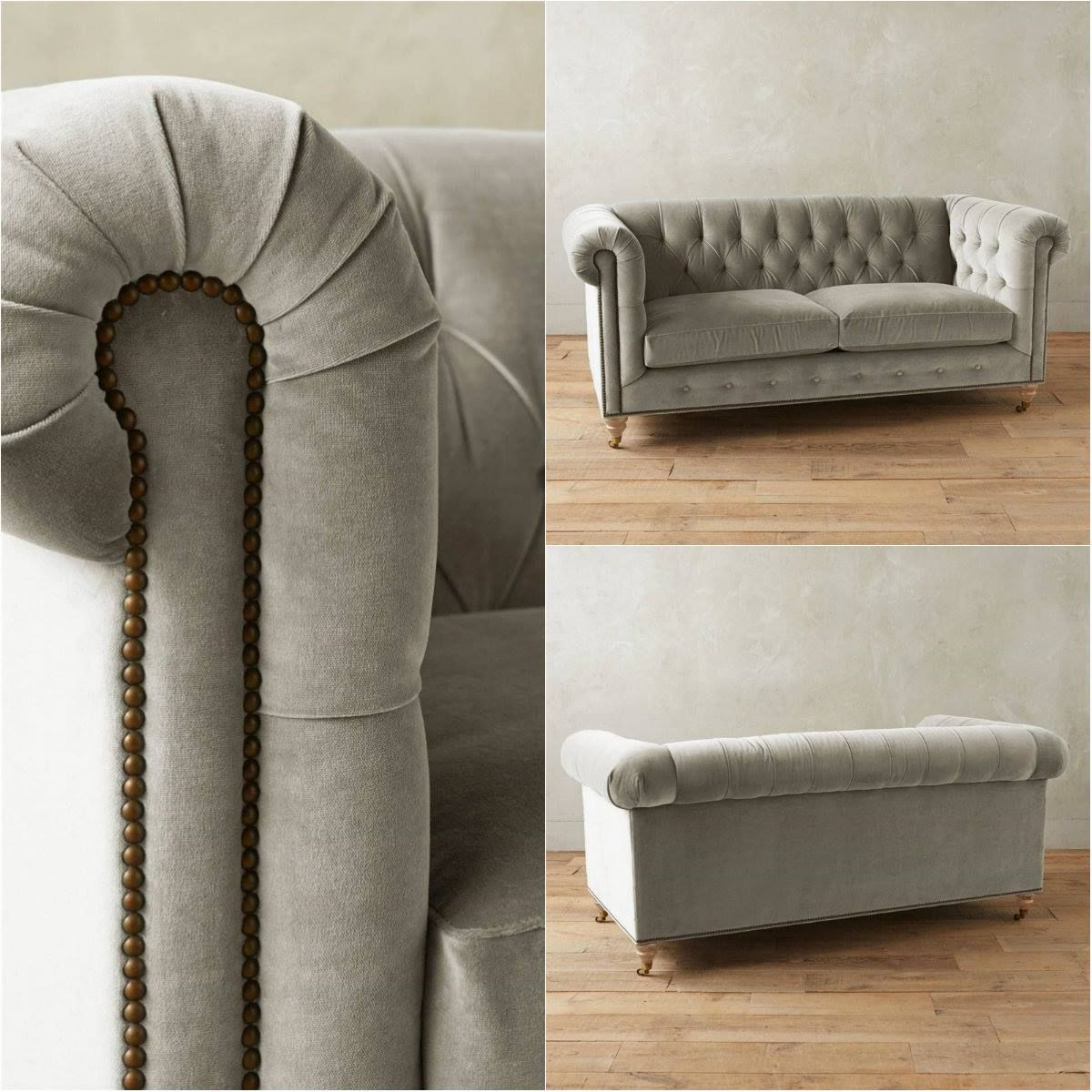 velvet grey tufted sofa ashley electric reclining parts light gray chesterfield