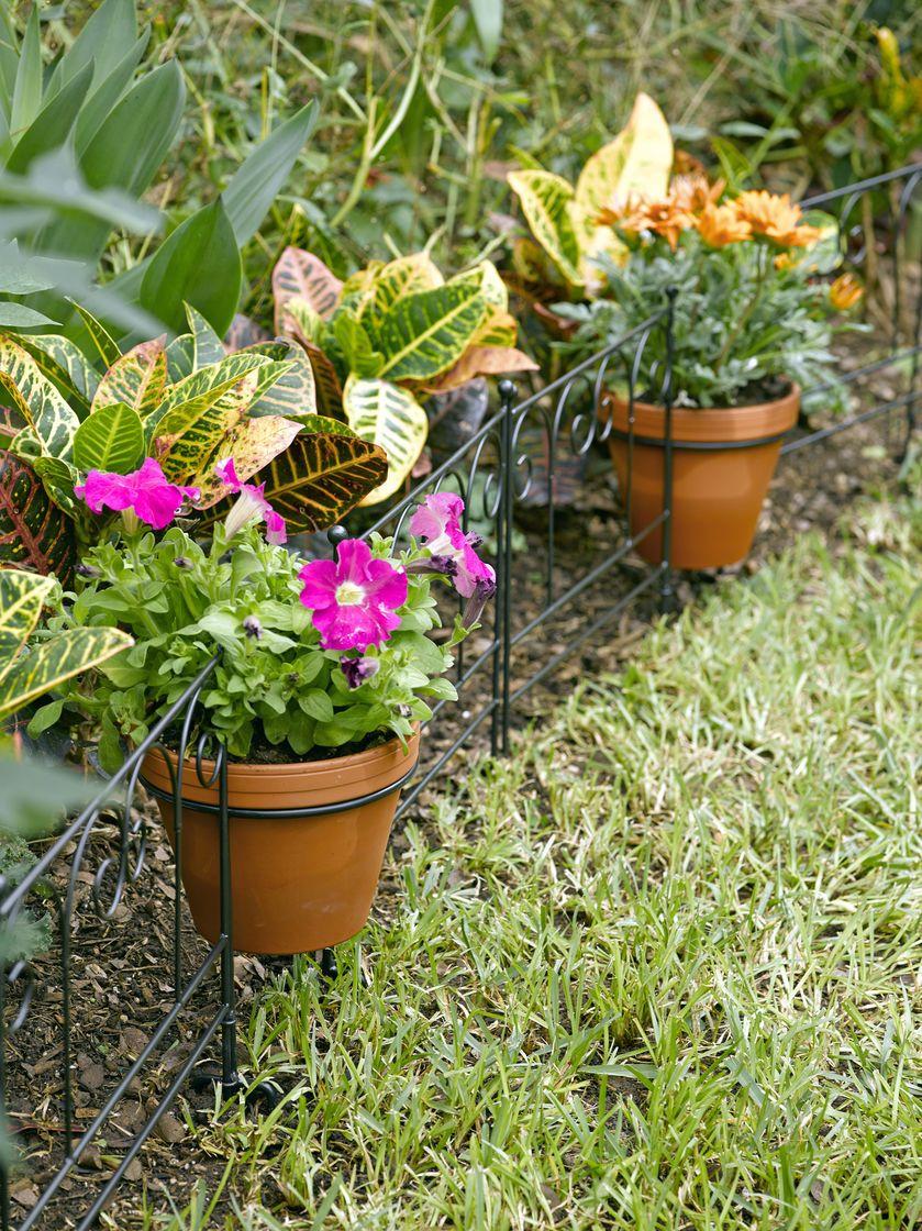Flower Pot Holder Garden Edging, Set of 3 | Gardeners.com | Garden ...