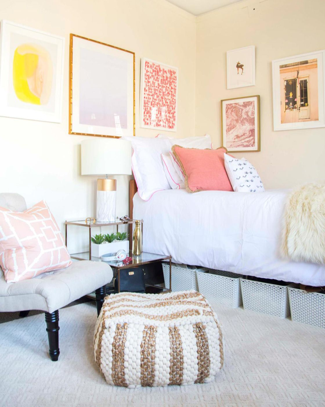 Bedroom wall art with designer thou swell in blush and blue dorm