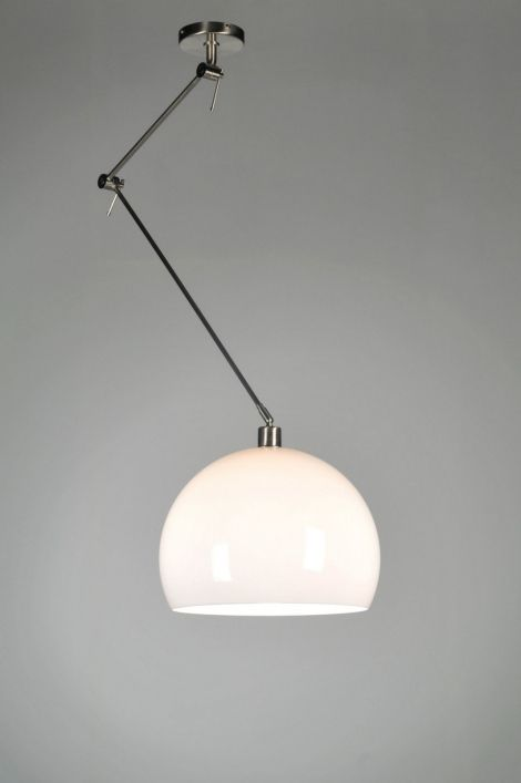 hanglamp modern retro kunststof staal rvs wit rond