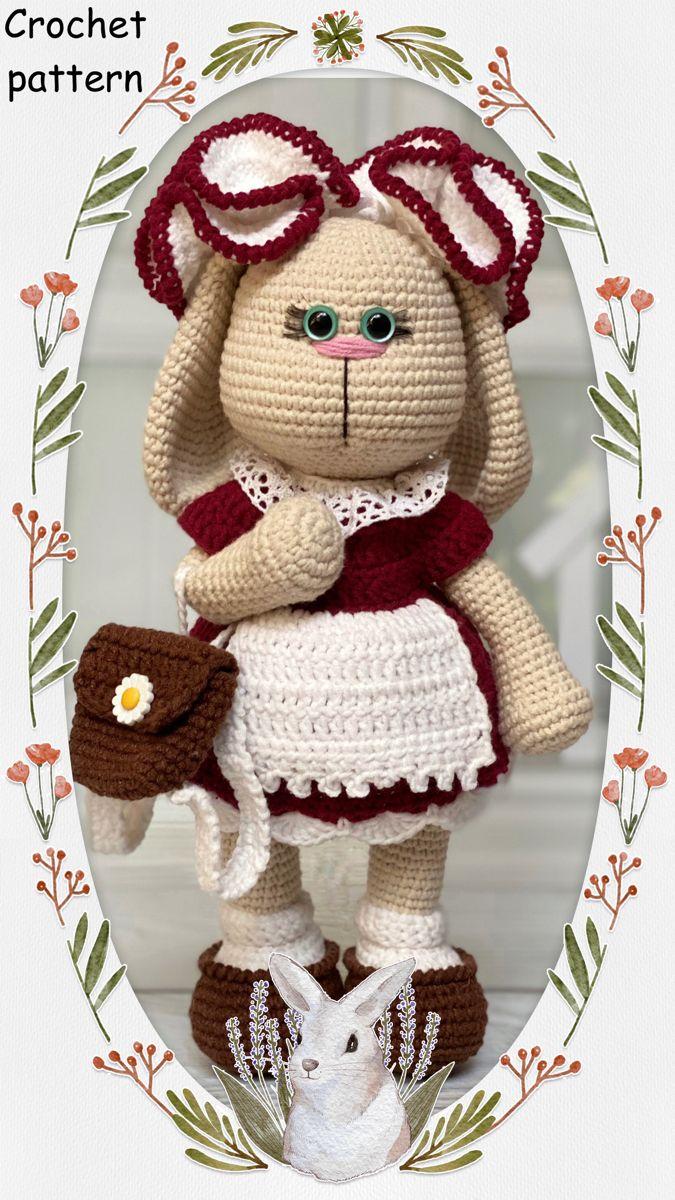 Crochet PATTERN Bunny Crochet tutorial Bunny the school girl | Etsy