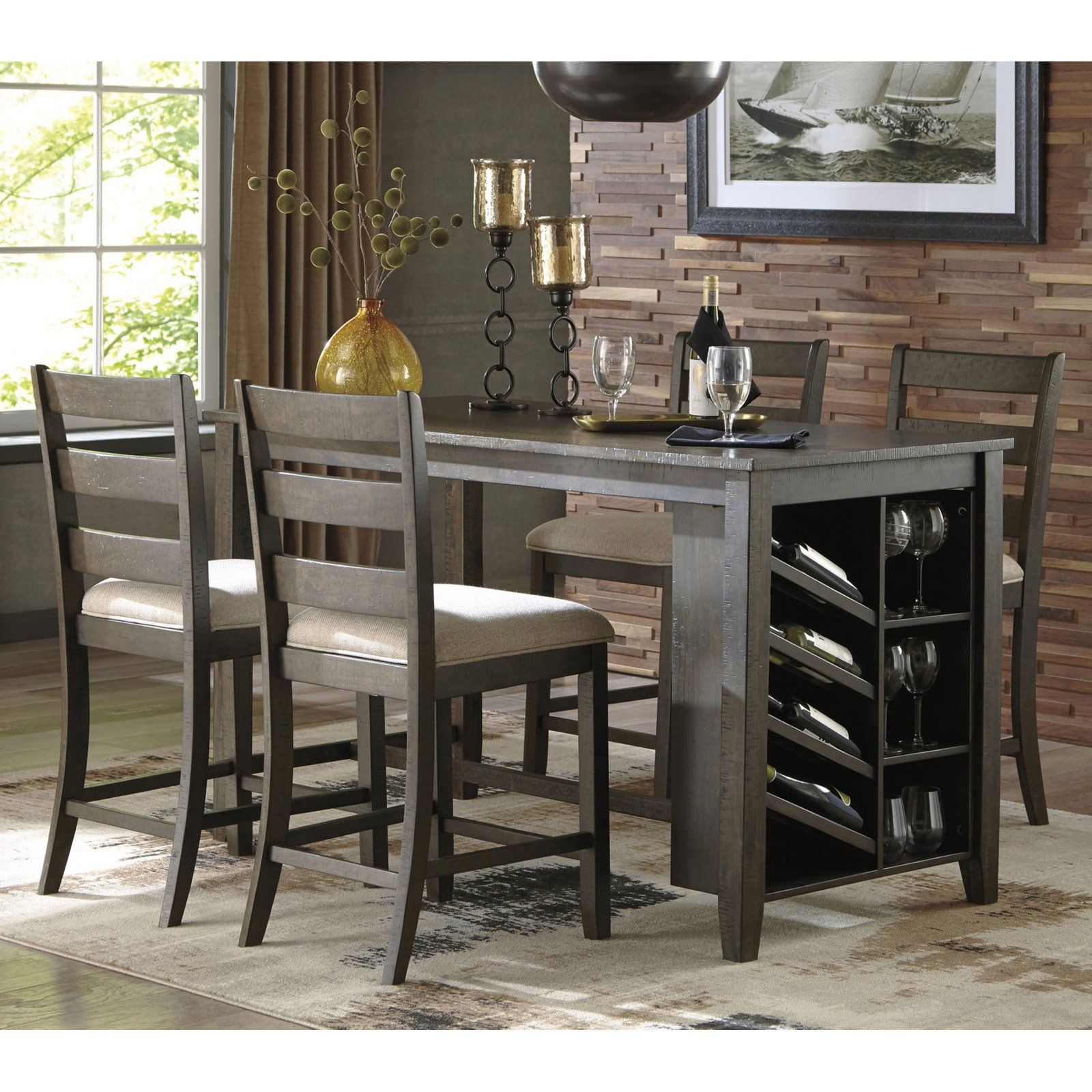 Signature Design By Ashley Rokane 5 Piece Counter Height Dining