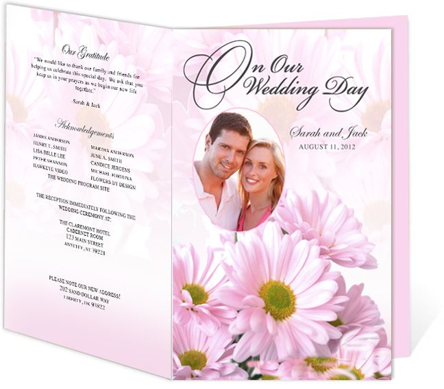 Daisies Wedding Program Templates easy to download and edit in Word