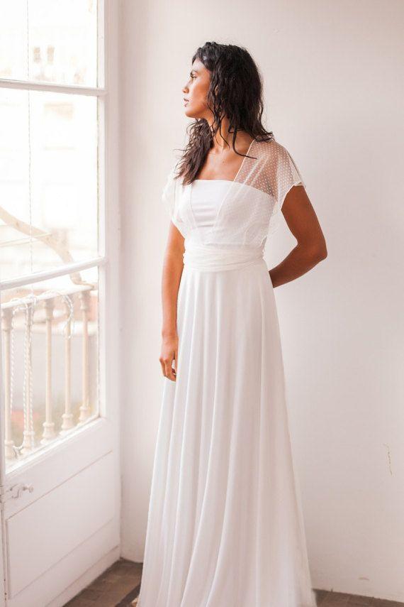Swiss dots bridal dress, tulle bridal dress, swiss dots wedding gown ...
