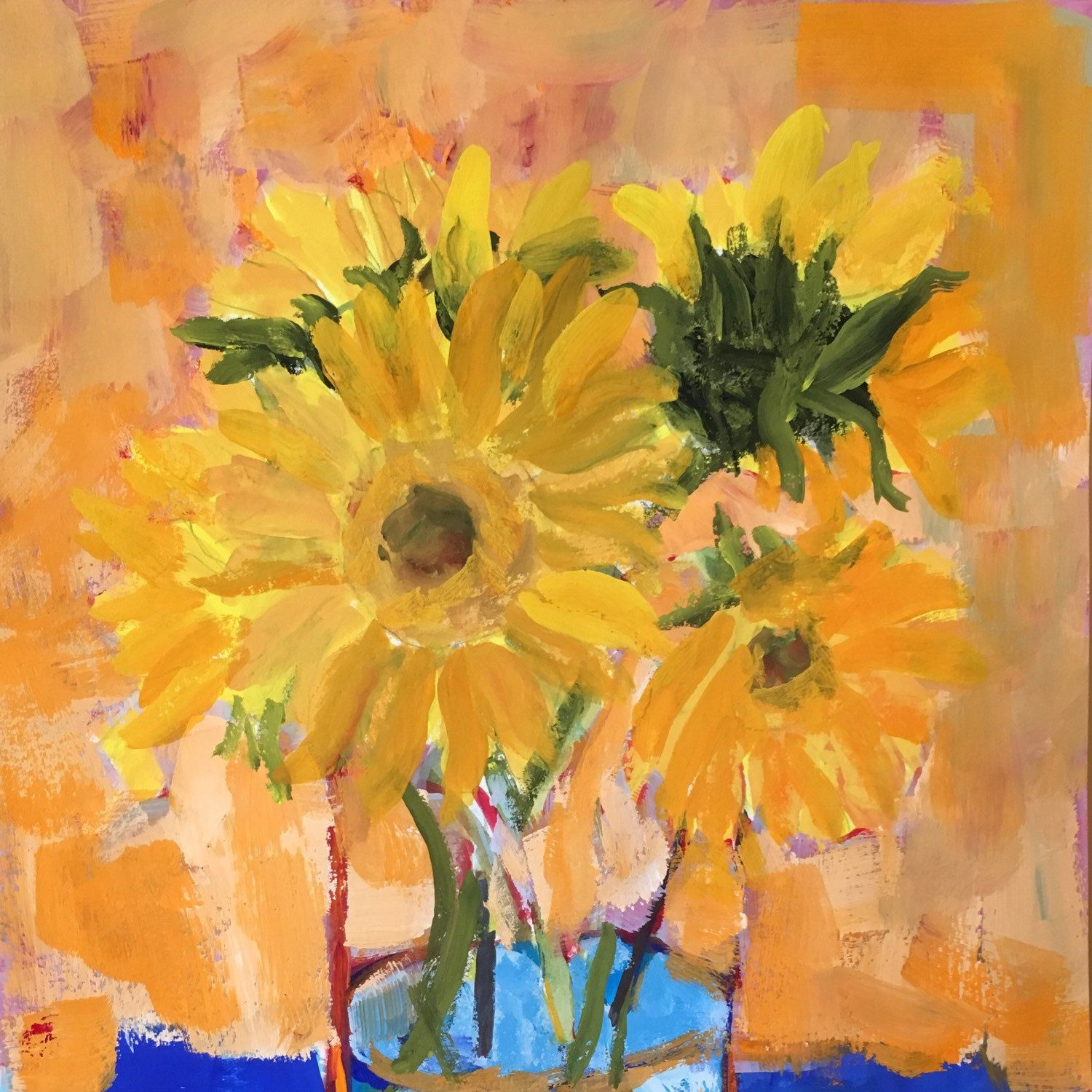 Art and collectibles, painting, Original ,gouache, sunflowers yellow ...