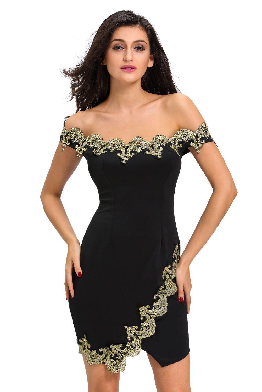 Gold lace applique black off shoulder mini dress products