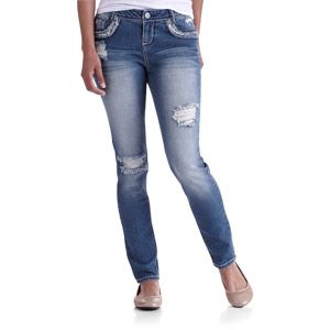 No Boundaries Juniors Distressed Skinny Jeans With Sequin Detail