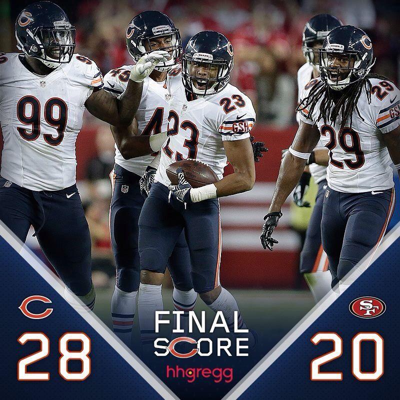 Final Score 9 14 14 Bears 28 20 Over The 49ers Chicago Bears Chicago Bears Football Chicago Nfl