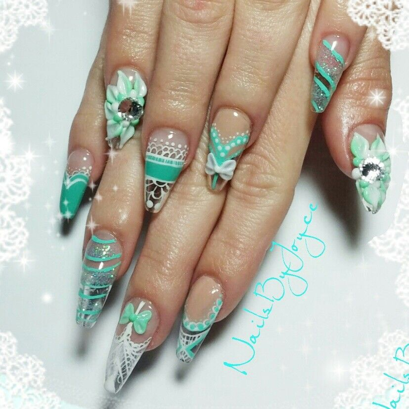 Sculpted Crystal Clear Acrylic Nails Hand Painted Nail Art